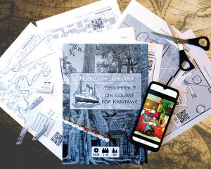 Online Escape Games - paper sheets with puzzles spread out on a table and a mobile phone
