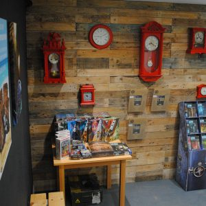 Our lobby with boxed escape games, Exit Games, Unlock Games and more